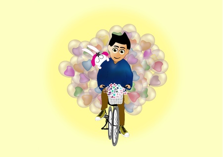 Man carries balloon for his lover Stock Vector - 9556910