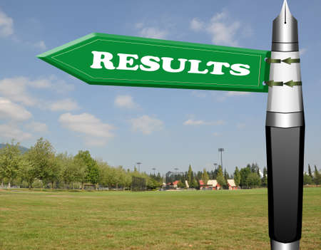 Results fountain pen road sign  Zdjęcie Seryjne