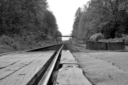 rapid steel: Macro railroad track with black and white image  Stock Photo