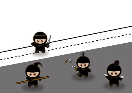 Abstract ninjas fighting