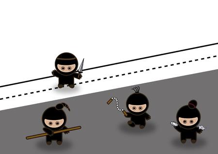 Abstract ninjas fighting Banco de Imagens - 10025374