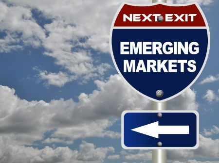emerging markets: Emerging markets road sign  Stock Photo