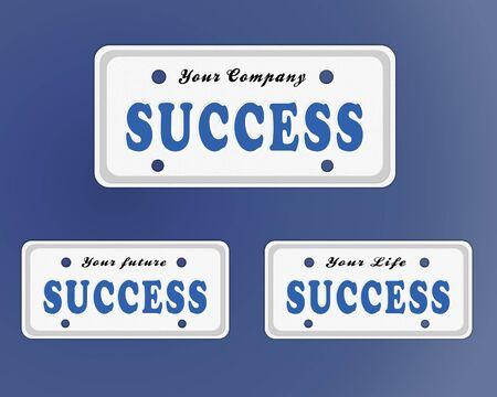 license plate: Success license plate