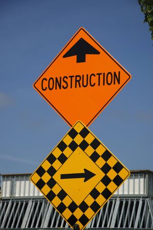 Construction road sign  photo