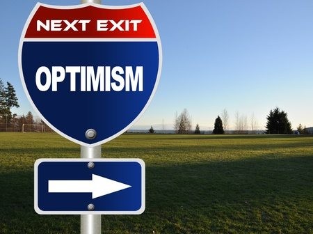 brighter: Optimism road sign  Stock Photo
