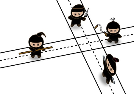 character assassination: Abstract ninjas fighting on crossroad  Illustration