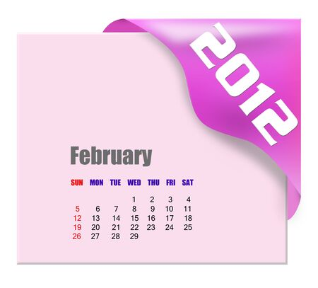 February of 2012 calendar  Stock Photo - 10780597