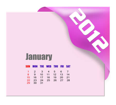 January of 2012 calendar