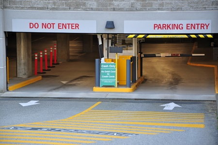 cars parking: Parking entrance in business center
