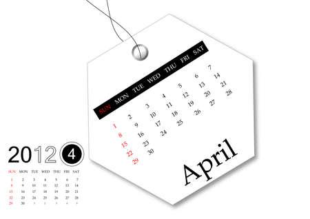 April of 2012 calendar  Stock Photo