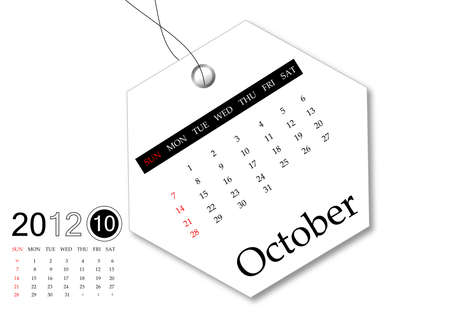 scheduler: October of 2012 calendar