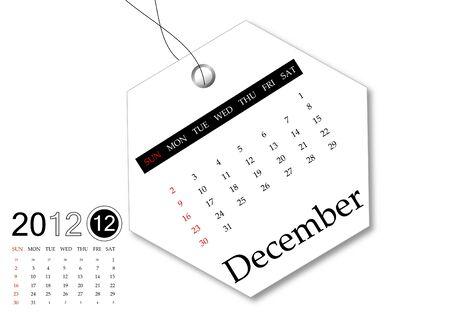 december: December of 2012 calendar