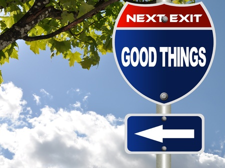 positivity: Good things road sign Stock Photo