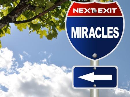 Miracles road sign  Archivio Fotografico