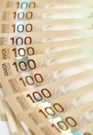 Canadian one hundred dollar bills background photo