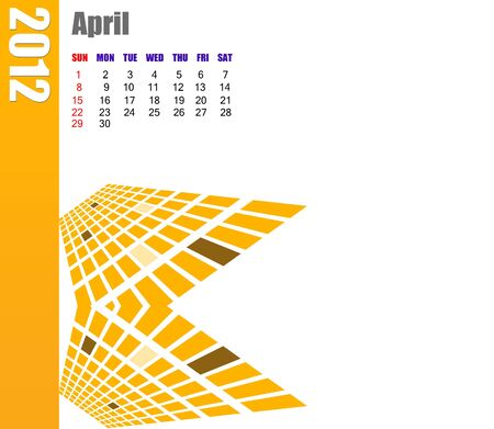 planner: April of 2012 calendar  Stock Photo