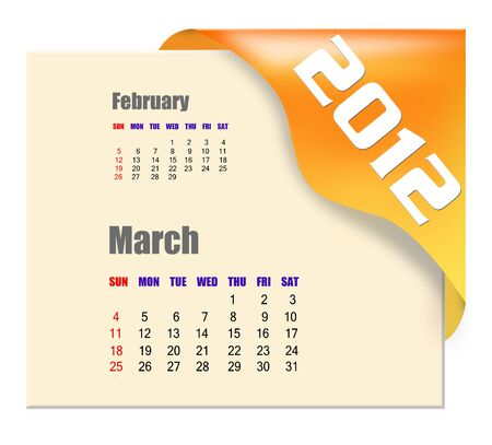 March of 2012 calendar