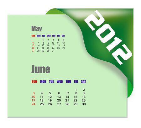 June of 2012 calendar  Stock Photo