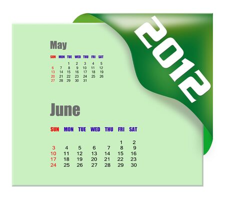 planner: June of 2012 calendar  Stock Photo