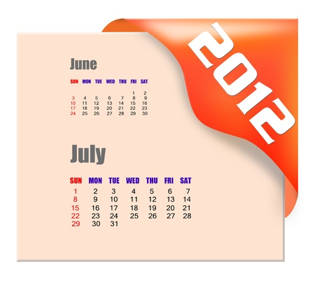 July of 2012 calendar