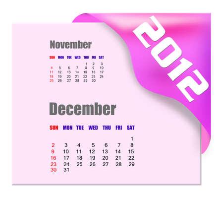 scheduler: December of 2012 calendar