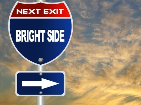 positivity: Bright side road sign  Stock Photo