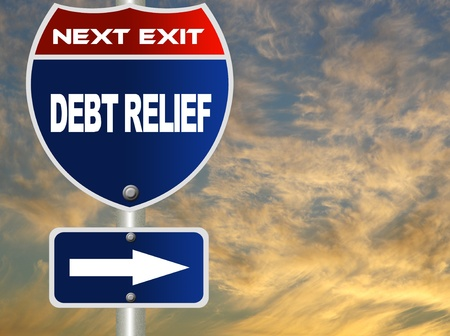 Debt relief road sign