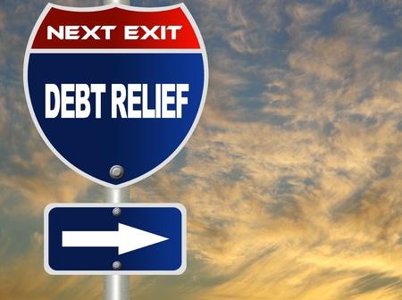 Debt relief road sign