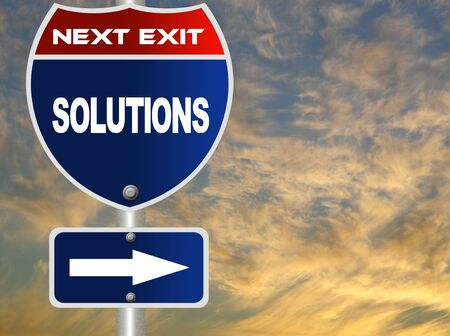 solutions freeway: Solutions road sign