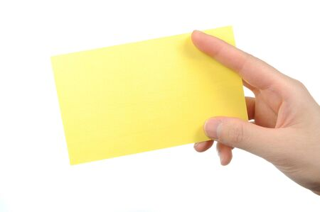 Isolated empty business card in a woman photo