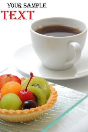 A dessert fruit cake with coffee  photo