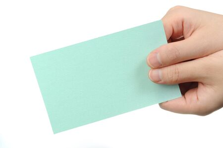 Isolated empty business card in a woman's hand. Just add your text Stock Photo - 11472687