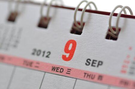 scheduler: Septmeber of 2012 calendar Stock Photo