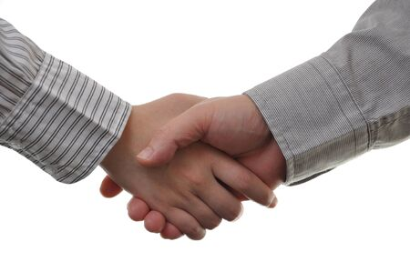 Hand shake between a businessman and a businesswoman isolated on white   photo