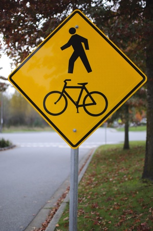 road bike: Pedestrian and park road sign in the park