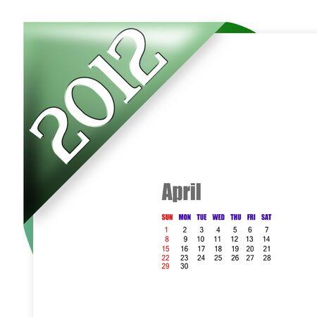 April of 2012 calendar  Фото со стока