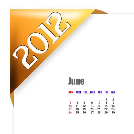 scheduler: June of 2012 calendar  Stock Photo