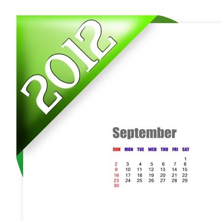 September of 2012 calendar  Stock Photo