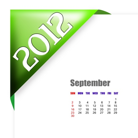 scheduler: September of 2012 calendar  Stock Photo