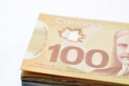 New Canadian 100 sfondo disegno di legge Archivio Fotografico - 11777096