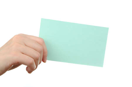 Empty light blue business card in a woman photo