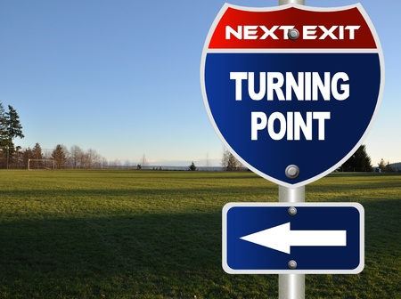 Turning point road sign