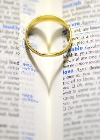 Wedding ring and heart shadow on love word photo