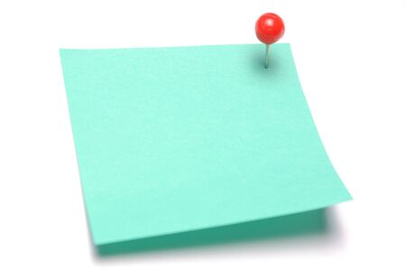 sticky note: Blank light green recycle sticky note with red push pin