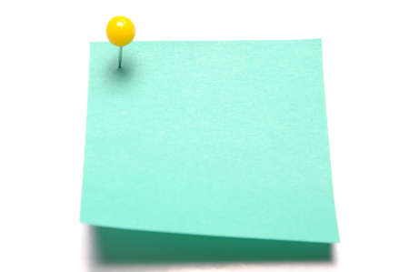 tack: Blank light green recycle sticky note with yellow push pin isolated on white  Stock Photo