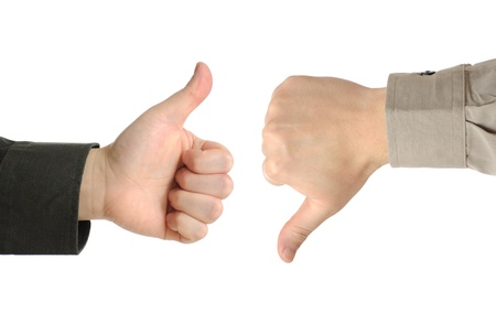 Two executives or businessmen disagreeing over a deal or contract by using hand signals  photo