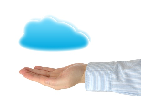 Businessman holding cloud computing concep Stock Photo - 12899038