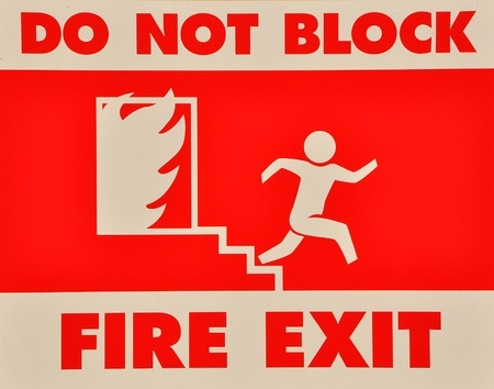 Do not block fire exit sign photo