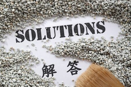 plan de accion: Soluciones: la serie Tesoro de Word con traducción al chino Foto de archivo