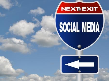 Social media road sign Фото со стока
